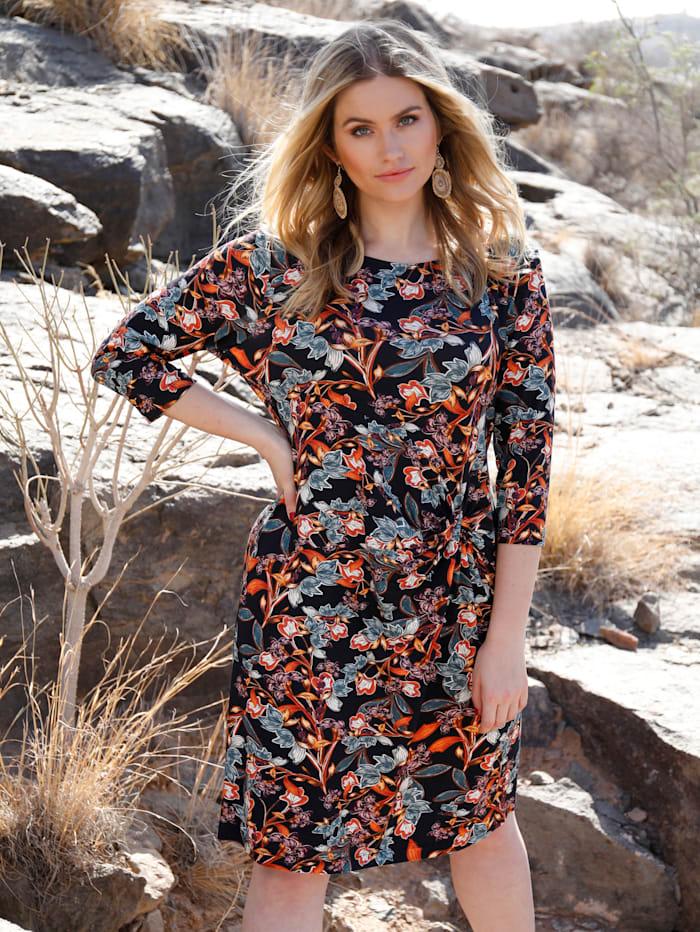 Sara Lindholm Jersey jurk met bloemendessin, Zwart/Steenrood