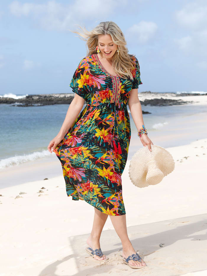 Robe de plage à imprimé jungle coloré et broderie