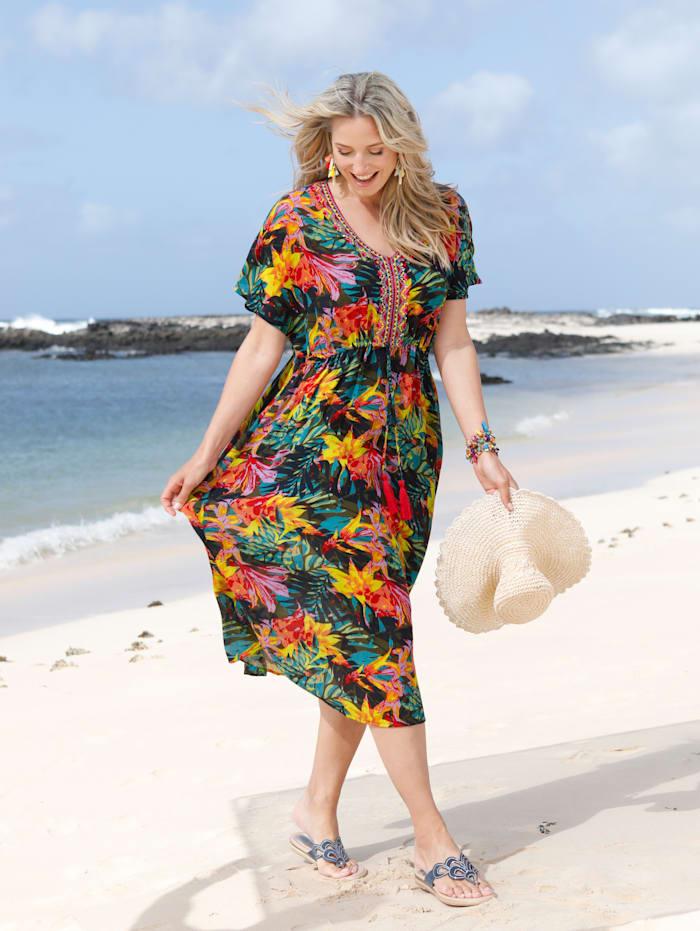 MIAMODA Strandkleid mit buntem Dschungeldruck und Stickerei, Multicolor