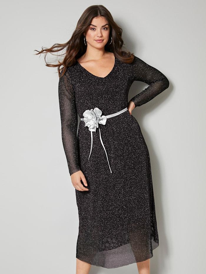 Mesh-Kleid mit Glanzeffekten