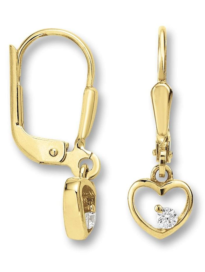 One Element Damen Schmuck Ohrringe / Ohrhänger aus 333 Gelbgold Zirkonia, gold