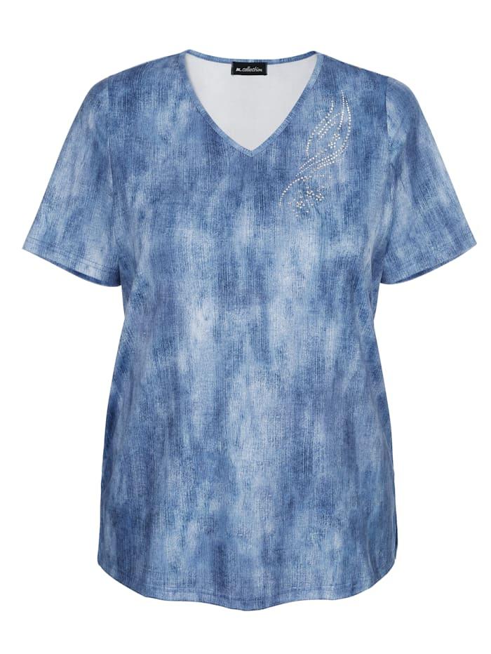 m. collection Topp med batikinspirerat mönster, Jeansblå