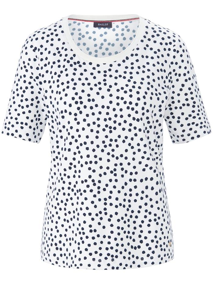 Basler T-Shirt mit getupftem Allover-Muster, offwhite-navy