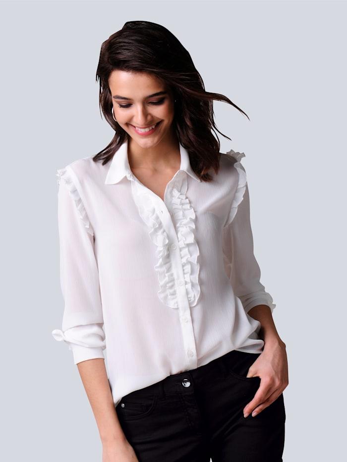Alba Moda Bluse mit Rüschen, Off-white