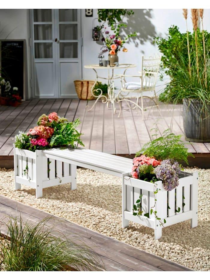 Gartenbank mit Pflanzkübeln