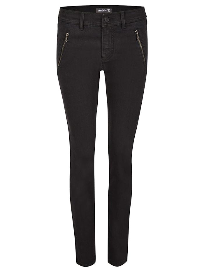 Angels Jeans 'Skinny Pocket' mit Reißverschlusstaschen, black