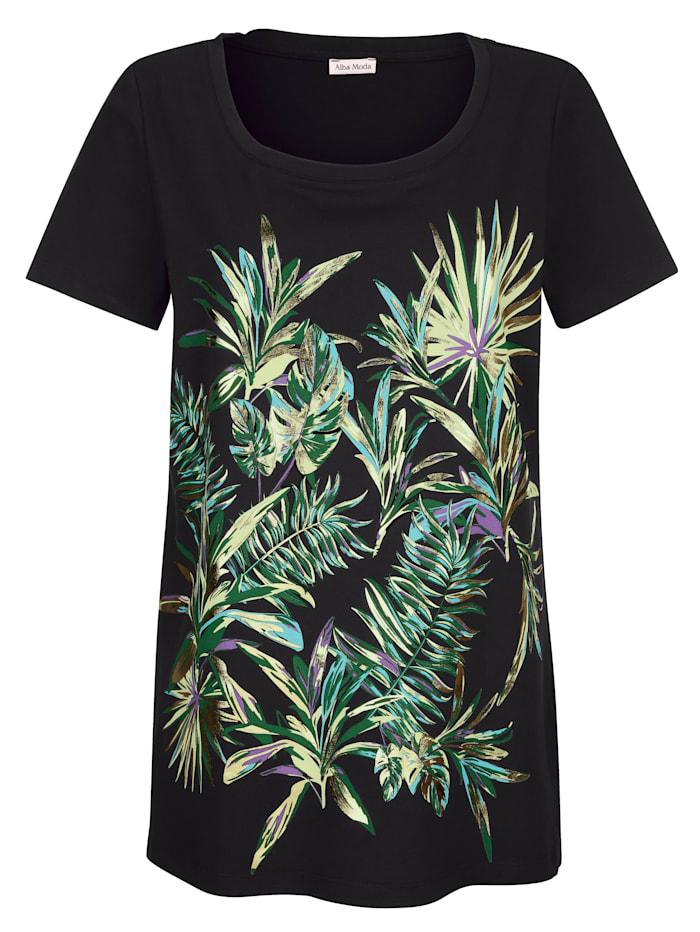 Alba Moda Strandshirt met print voor, zwart/groen