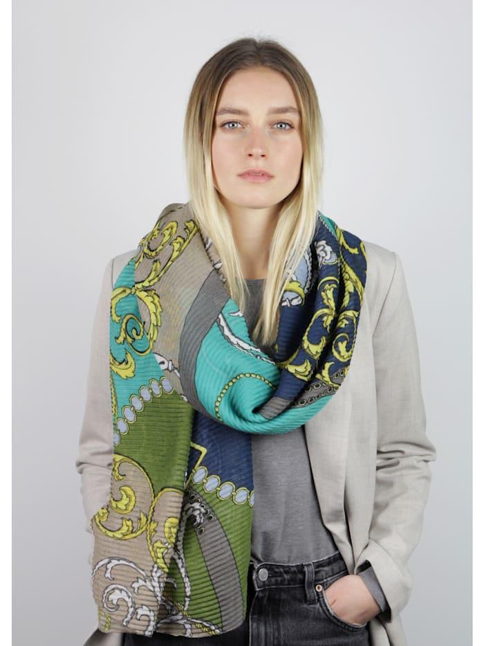 Plissee-Schal mit Foulard-Muster aus recyceltem Polyester