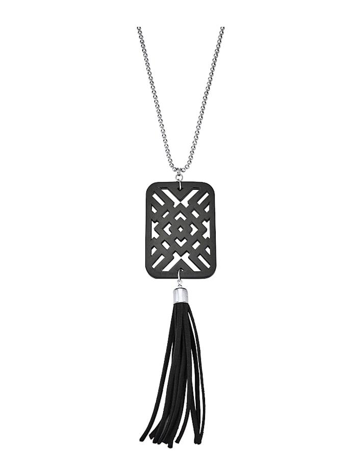 Halskette mit Kunstharzanhänger, Schwarz