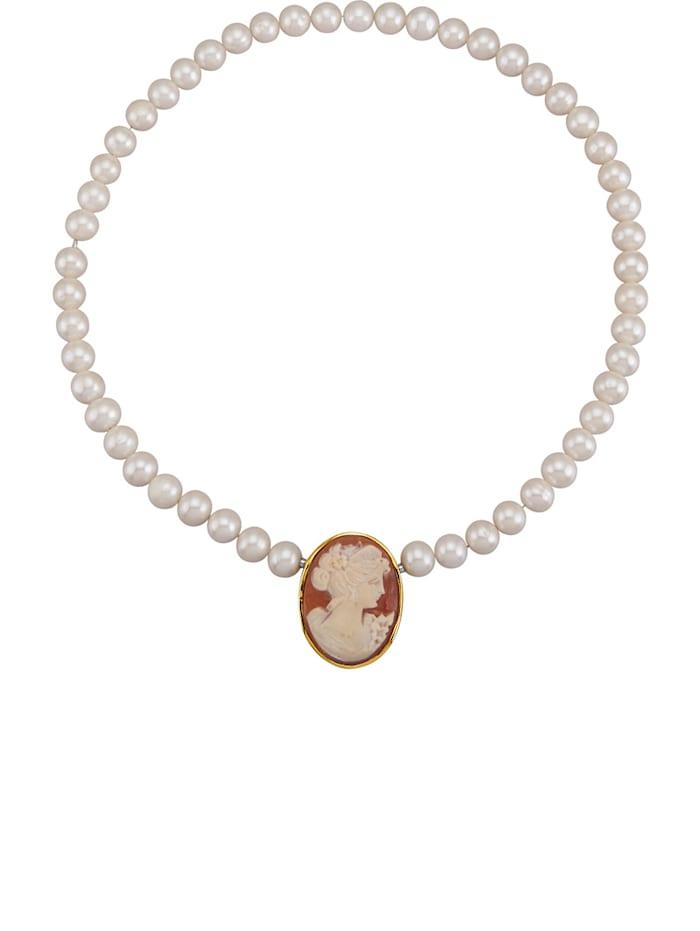 Amara Perles Collier en perles de culture d'eau douce avec camée sur coquillage, Blanc