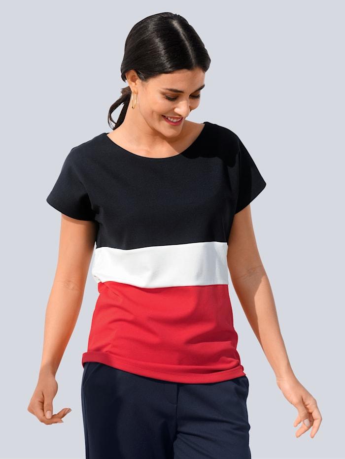 Alba Moda Shirt im angesagten Colourblock-Dessin, Marineblau/Rot/Weiß