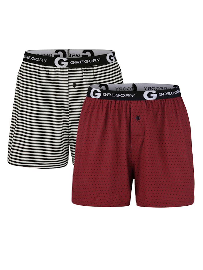 G Gregory Boxershorts 2er Pack, 1x rot, 1x schwarz/weiß