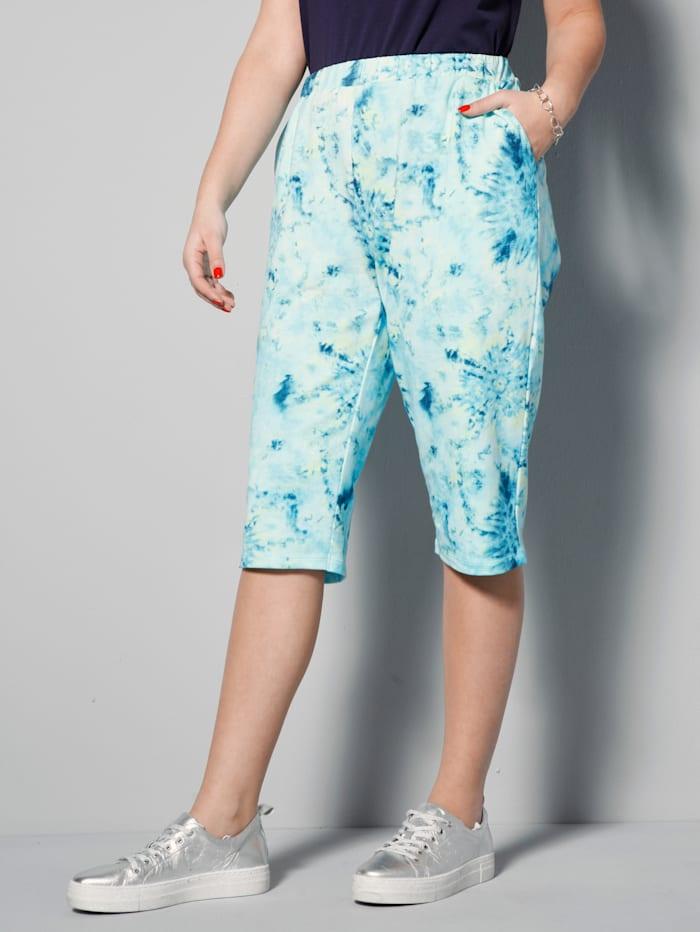 MIAMODA Bermuda met modieus batikdessin, Blauw