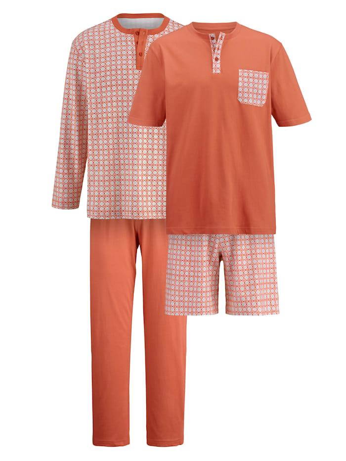 BABISTA Pyjamaset met pyjama en shortama, Terracotta/Grijs