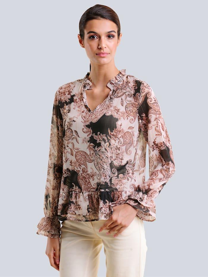 Alba Moda Blus med exklusivt mönster, Brun/Hasselnötsbrun
