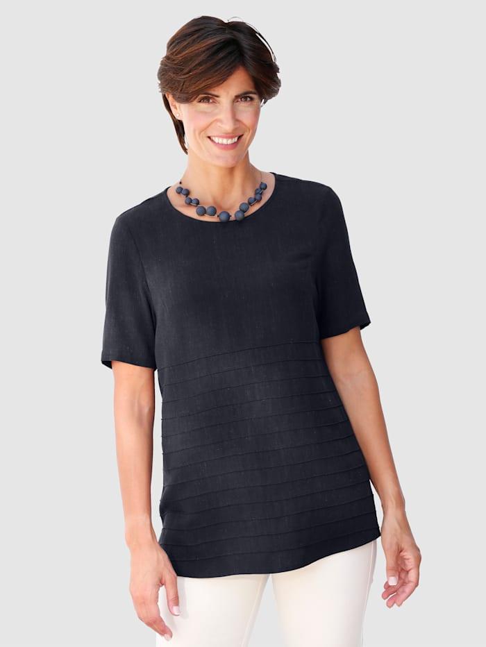 Paola Shirtbluse aus hochwertiger Leinenmischung, Marineblau
