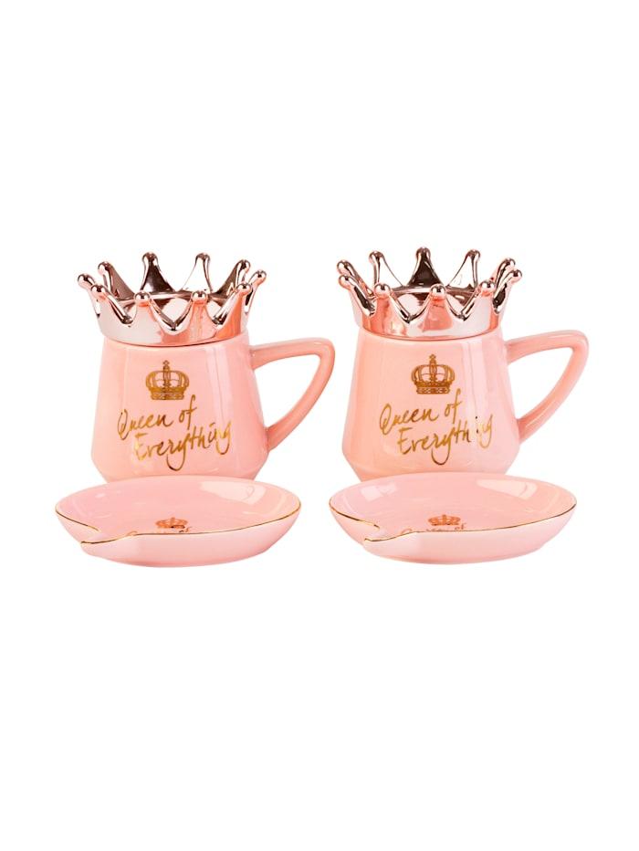IMPRESSIONEN living Kaffee-Set, 6-tlg., rosé/goldfarben