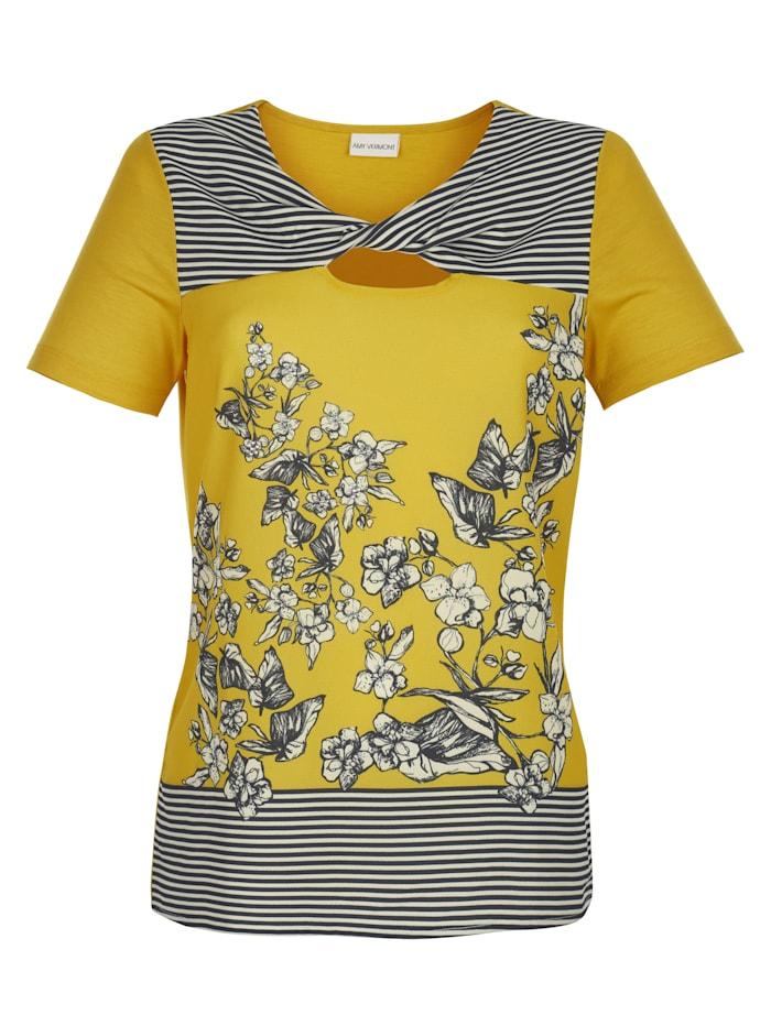 Shirt mit Strasssteindekoration und bedruckter Webware im Vorderteil