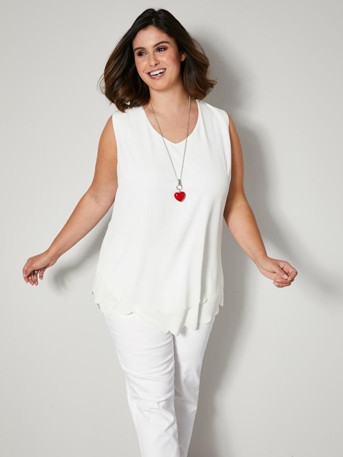 Sara Lindholm Top in leicht taillierter Form, Weiß