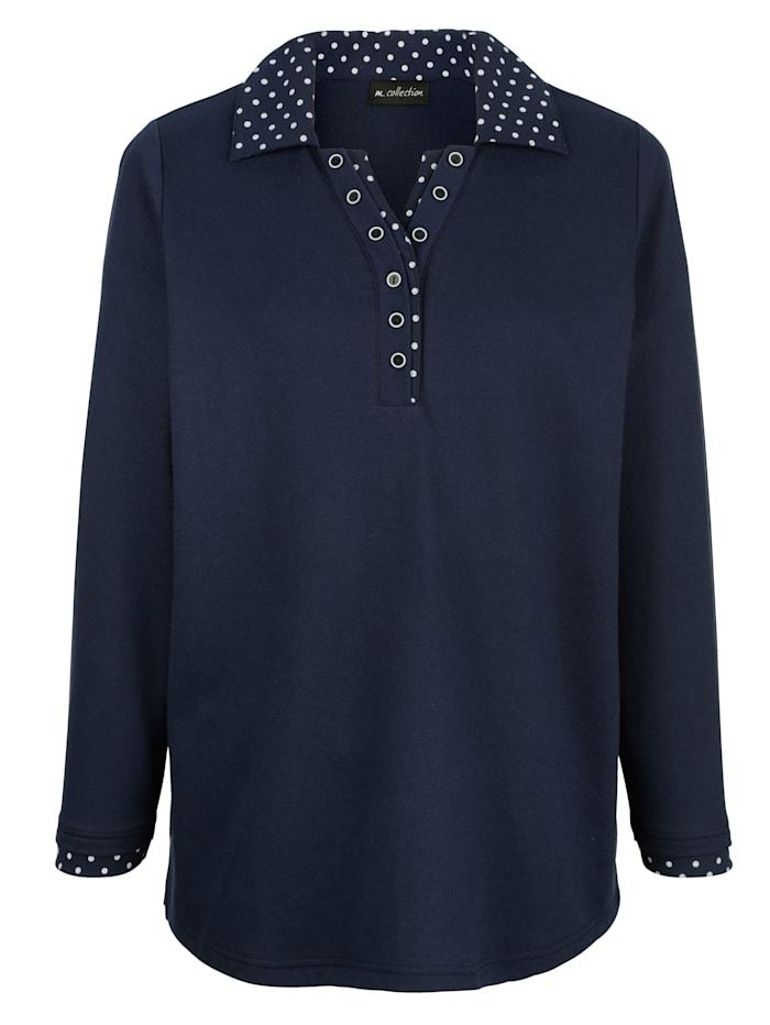m. collection Sweatshirt mit gepunktetem Einsatz am Kragen und Ärmel, Marineblau/Weiß