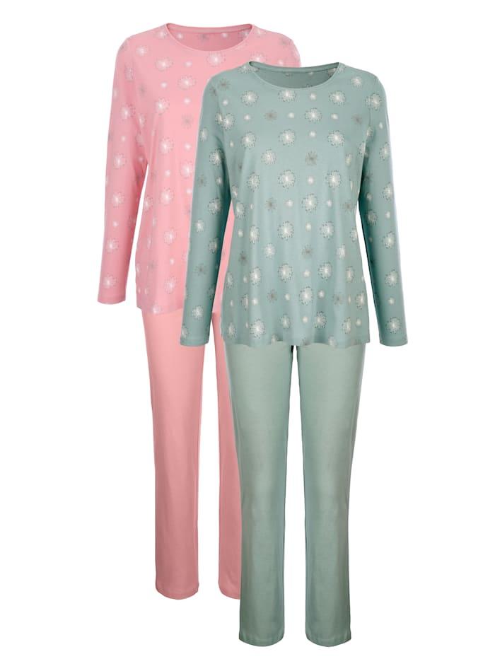 Harmony Pyjamas med småmönstrad överdel, Jade/Gammalrosa