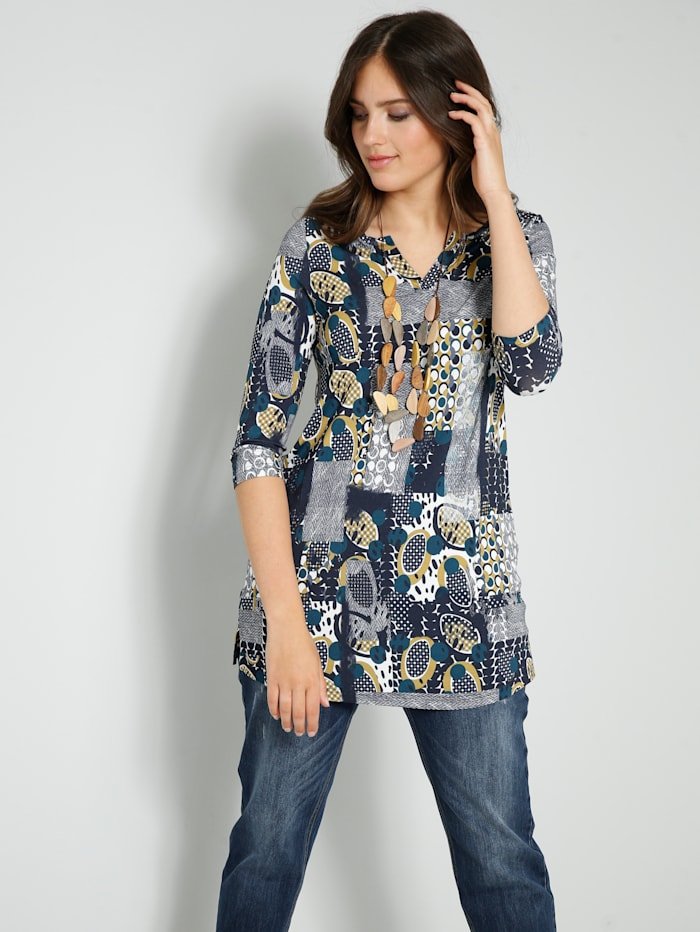 Janet & Joyce Shirt-Tunika in kaschierendem A-Shape, Marineblau/Goldfarben