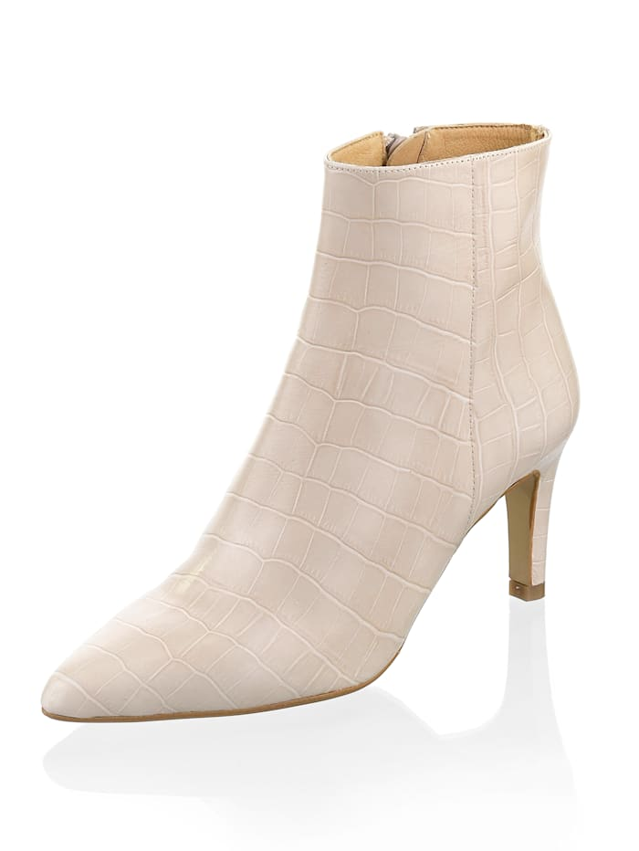 Alba Moda Stiefelette aus geprägtem Rindsleder, Creme-Weiß