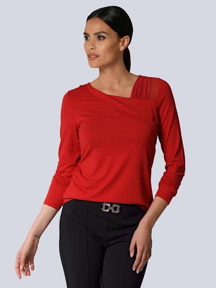 Alba Moda Shirt mit modischen Mesh-Cut-Outs, Rot