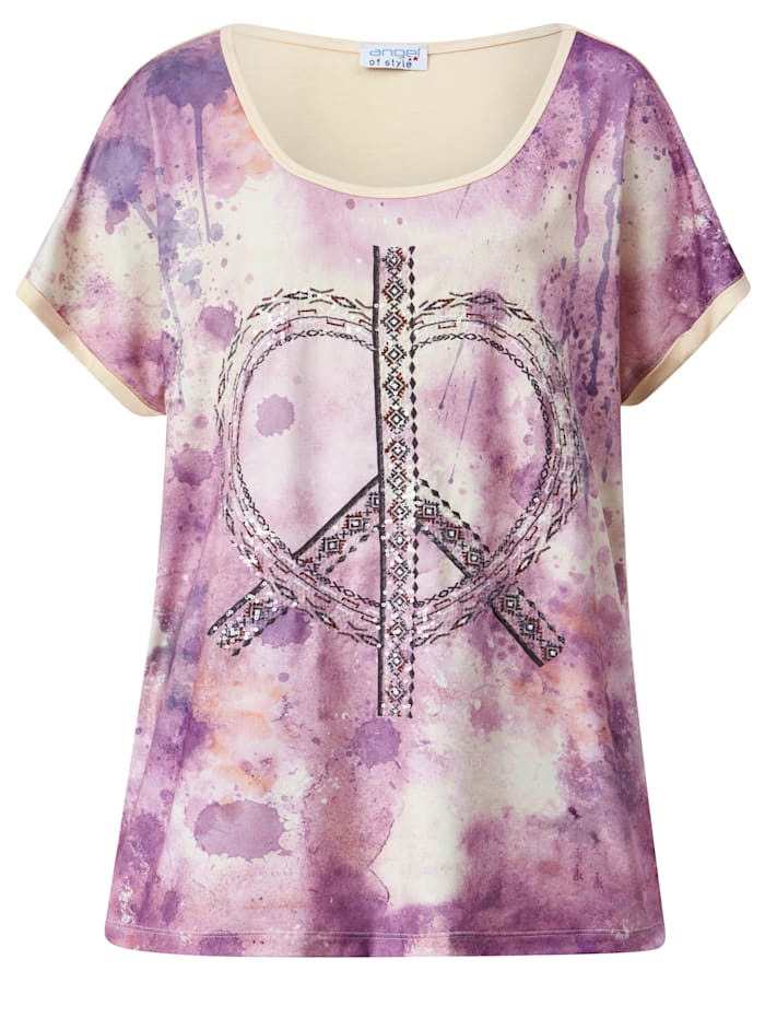 Shirt net paillettenhart voor