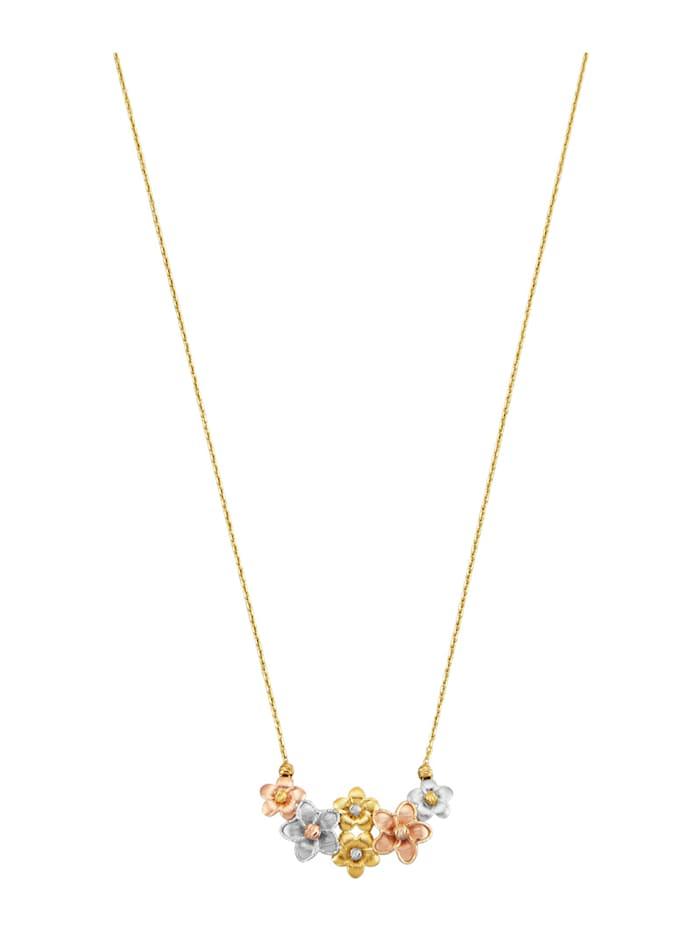 Halsband med blomhänge i trefärgad design, Guldfärgad