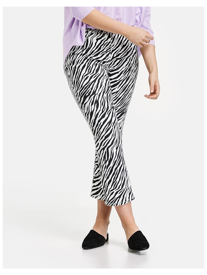 Samoon 7/8 Bootcut Hose mit Zebra-Print Organic Cotton, Black gemustert