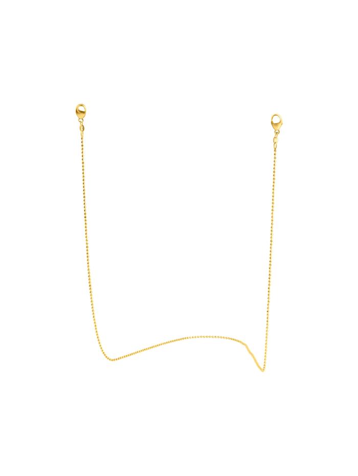 ZEEme Brillenkette Maskenkette 925/- Sterling Silber 70cm Diamantiert, gelb