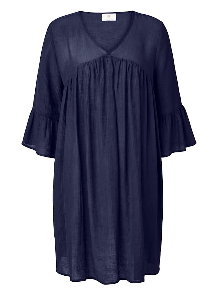 SIENNA Kleid Fließende Viskose Qualität mit leichtem Crinkle-Effekt, Dunkelblau