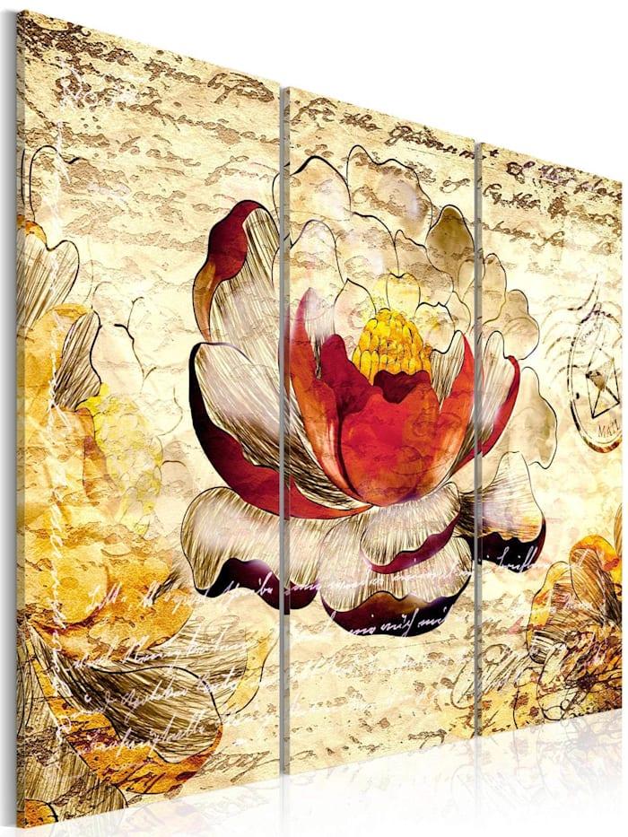 artgeist Wandbild Blume im Retro Stil, Beige,Schwarz,Rot,Gelb
