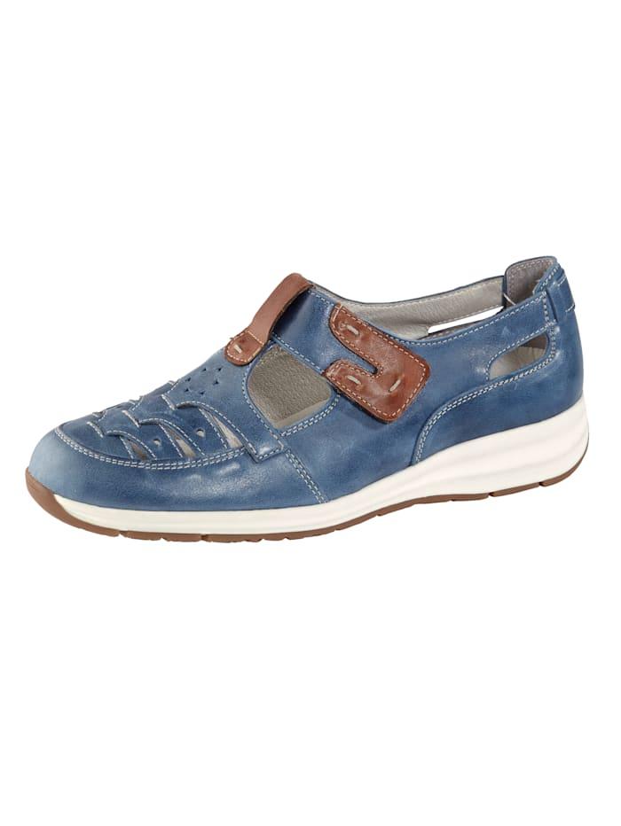 Naturläufer Klittenbandschoen met modieuze perforaties, Blauw