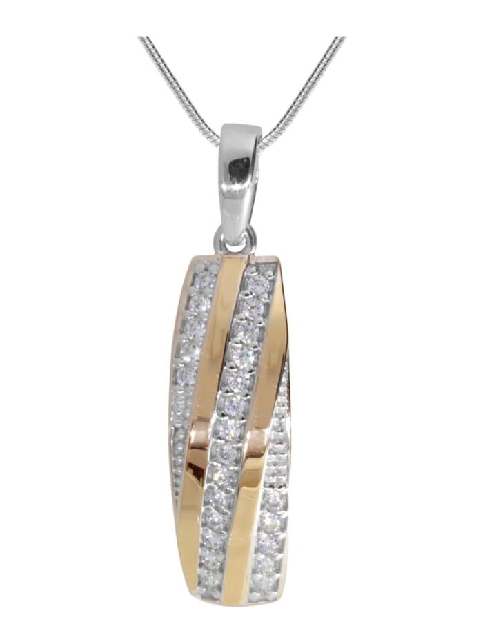 OSTSEE-SCHMUCK Kette mit Anhänger - Sunny Exklusiv - Silber 925/000 & Gold 585/000 - Zirkonia, silber