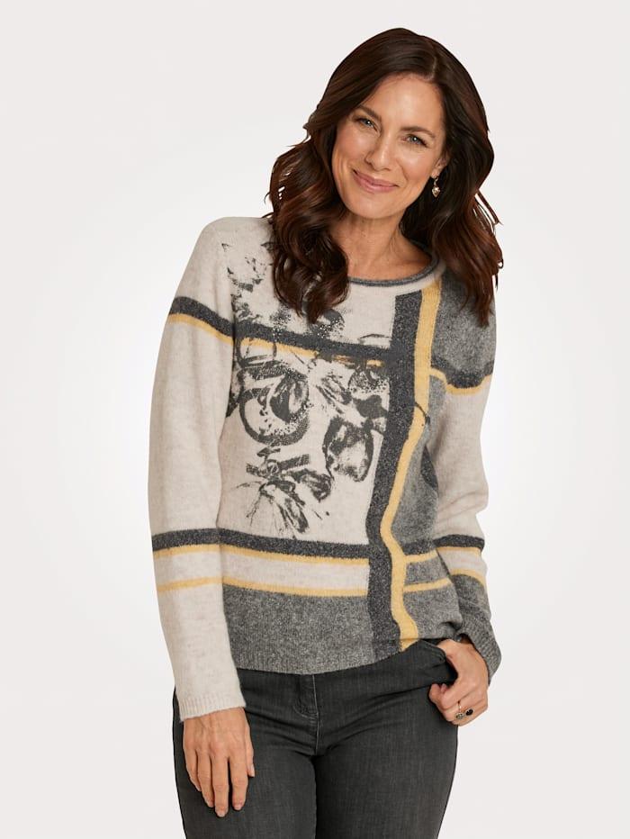 Rabe Pullover in haariger Qualität, Hellgrau/Gelb