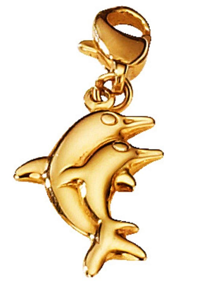 Delphin-Einhänger, Gelbgoldfarben