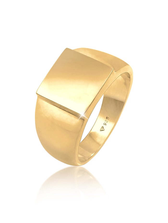Kuzzoi Ring Siegelring Herren Rechteckig Glanz 925 Silber, Gold