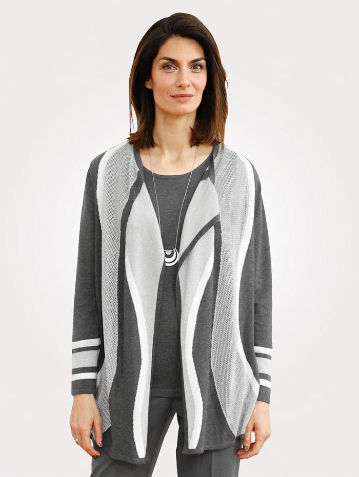 MONA Strickjacke mit Intarsienstrick, Grau/Weiß/Silberfarben
