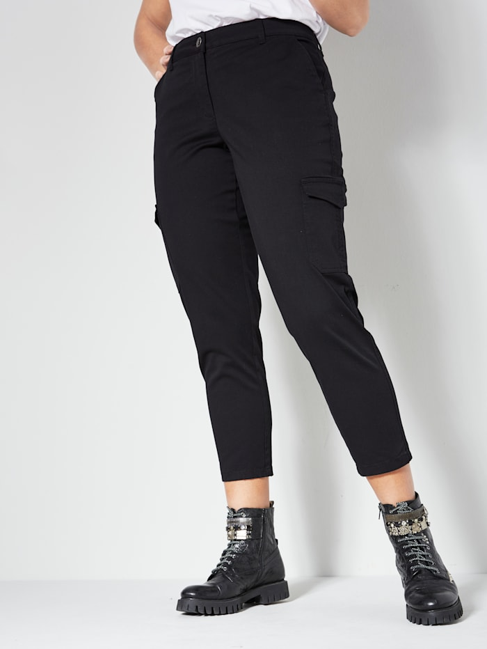 Angel of Style Cargo nohavice s našitými vreckami, Čierna