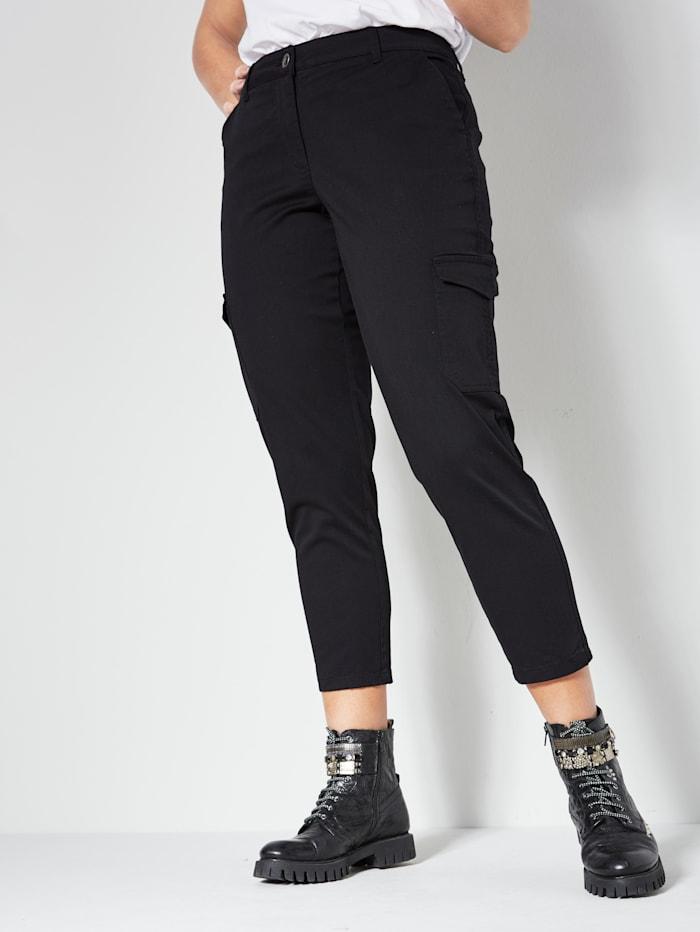 Angel of Style Cargobroek met opgestikte zakken, Zwart