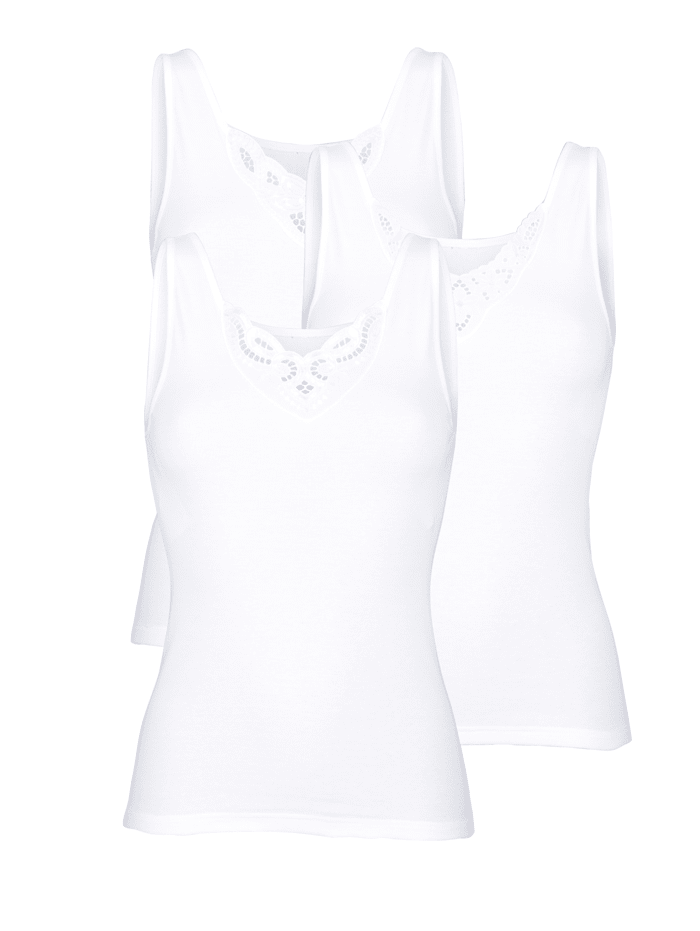 Nina von C. Achselhemden mit verschiedenen Batistmotiven 3er Pack, 3x weiß
