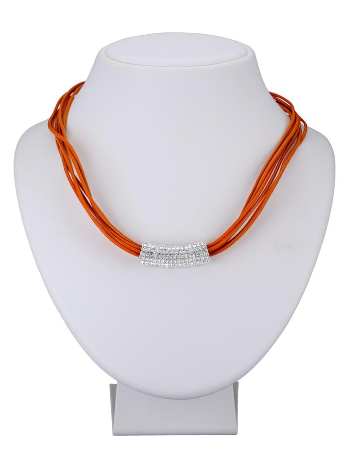 Collier mit Glassteinen, Orange