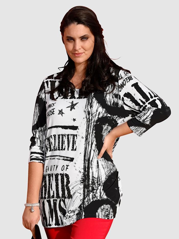 MIAMODA Shirt mit dekorativem Alloverprint, Schwarz/Weiß