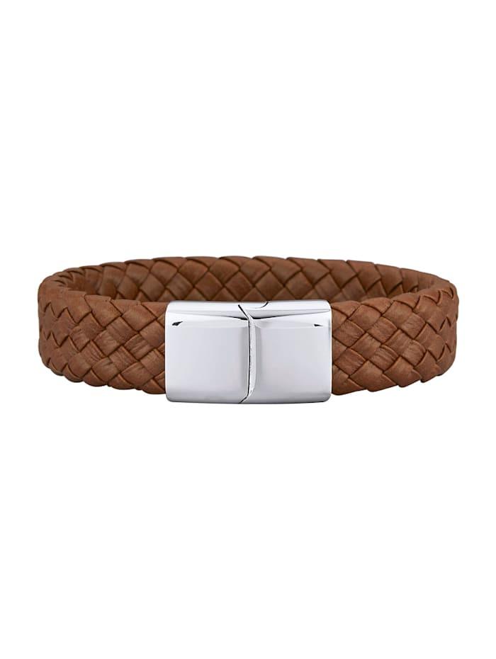 Magnetic Balance Bracelet en cuir et acier inox, Marron