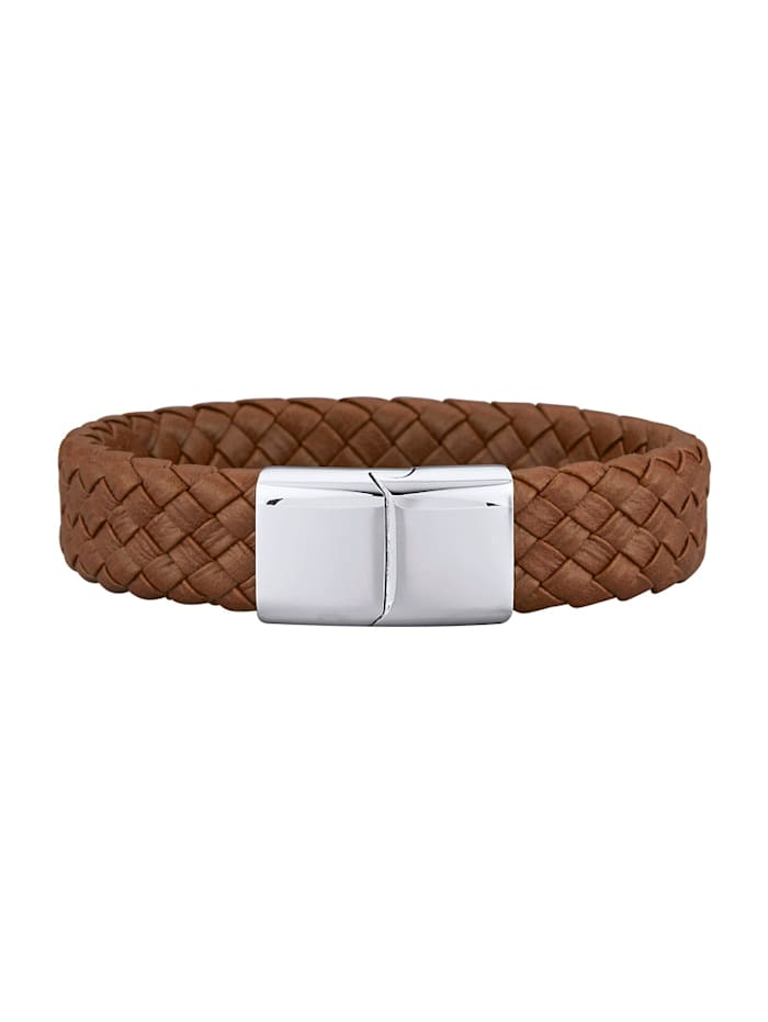 Magnetic Balance Leder-Armband, Edelstahl mit Edelstahl, Braun