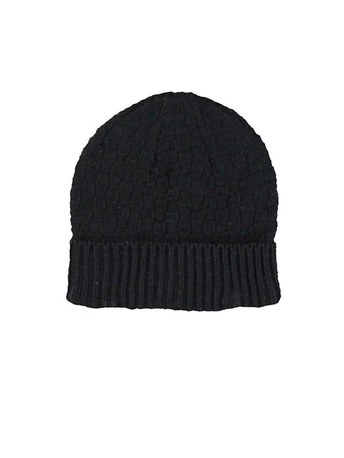 Engbers Mütze mit feiner Rippstruktur, Schwarz