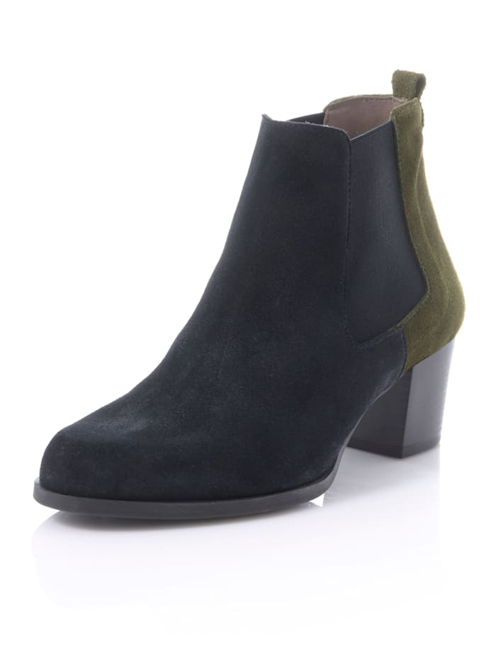Alba Moda Chelsea boot in bicolor look, Marine/Groen