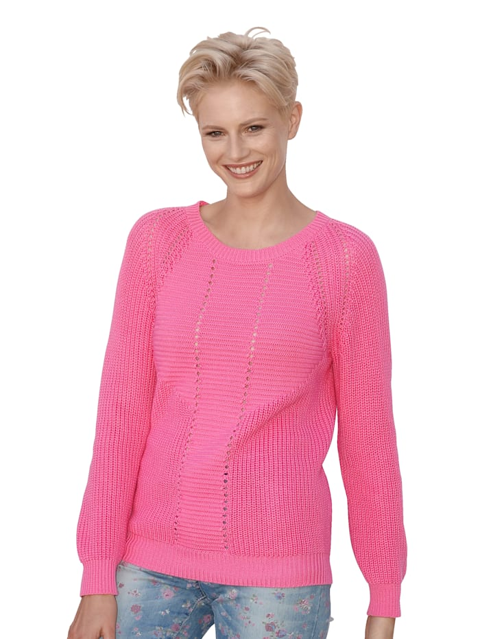 AMY VERMONT Pullover in Strukturstrick, Pink